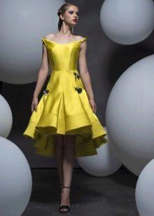 Коктейльное платье в стиле стиляг желтое