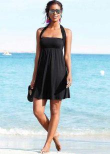 Черное платье-юбка с перекидной лямкой