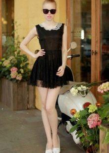 Черное короткое прозрачное платье с завышенной талией