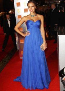 Синее длинное платье-бюстье с завышенной талией