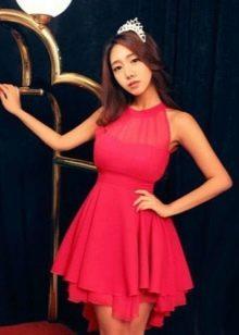 Розовое платье с завышенной талией с многослойной юбкой