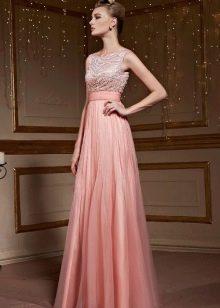 Платье с завышенной талией персиковое