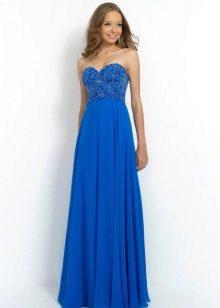 Синее платье с завышенной талией