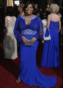 Синее комбинированное тканями платье в пол с динным рукавом для полных