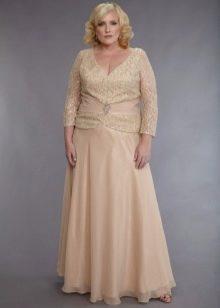 С длинным рукавом платье для полных бежевого цвета из гипюра и шифона