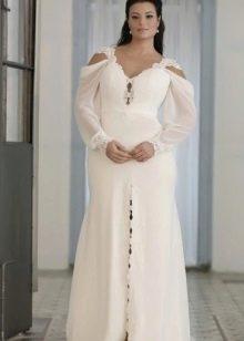 Красивое белое длинное платье для полных