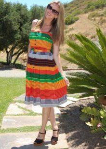 Платье в широкую разноцветную полоску