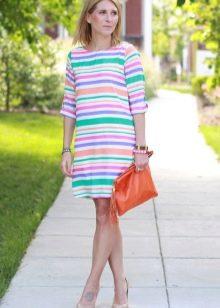 Платье в тонкую разноцветную полоску