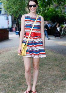 Трехцветное полосатое платье
