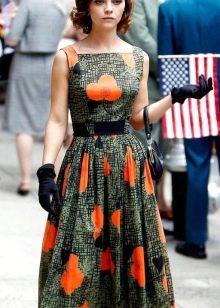 Платье в стиле 50-х с поясом и перчатками