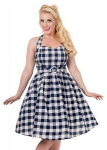 Клетчатое хлопчатобумажное платье на бретелях в стиле 50-х