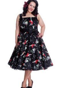 Платье на бретелях в стиле 50-х для полных
