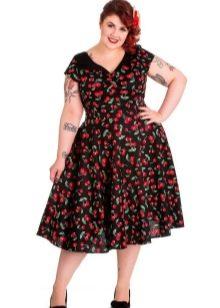 Платье с треугольным вырезом в стиле 50-х для полных