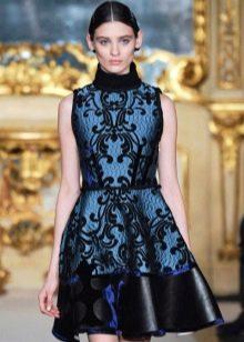 Короткое  платье в стиле барокко синее