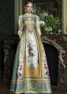 платье в стиле барокко с принтом и рукавами