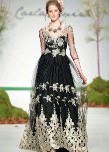 Платье в стиле барокко с серебряным принтом