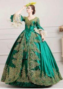 Зеленое платье в стиле барокко