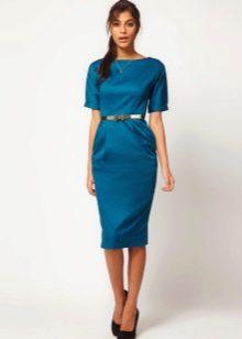 Синее платье в стиле нью лук с юбкой карандаш