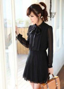 Гофрированное черное платье рубашка