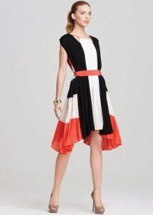 Трехцветное плиссированное платье