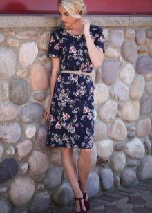 Летнее повседневное платье с мелким цветочным принтом