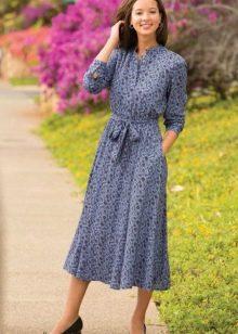 Повседневное платье средней длины с рукавом три четверти