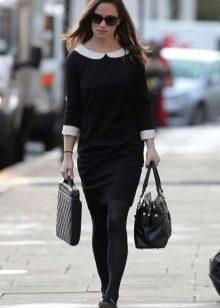 Черное повседневное платье-футляр
