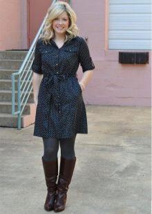 Черное в горошек повседневное платье-рубашка