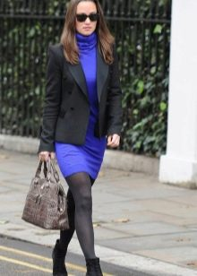 Синее повседневное платье-водолазка