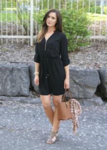 Черное повседневное легкое платье