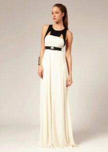 Платье длинное расклешенное с завышенной талией