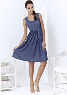 Платье расклешенное с завышенной талией длины миди