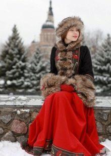 Душегрейка к русскому сарафану на зиму