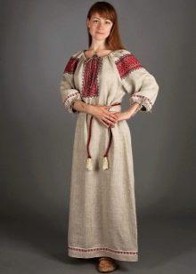 Русский льняной сарафан в этническом стиле