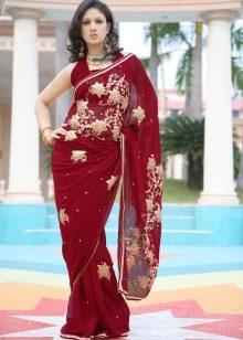 Сари бордовое платье