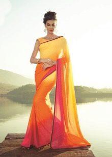 Сари оранжевое индийское