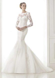 Свадебное платье русалка с рукавами