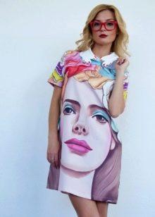 Короткое платье с фотопринтом портрет