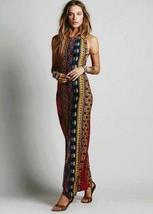 Платье с этническим принтом в коричневой гамме