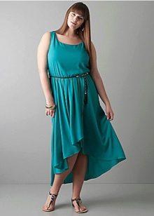 Трикотажное короткое спереди длинное сзади платье для полных