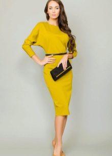 Итальянское трикотажное платье с рукавами