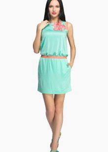 Итальянское трикотажное платье бирюзовое