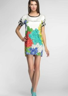 Итальянское трикотажное платье цветное