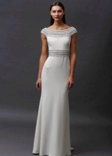Белое трикотажное платье в пол