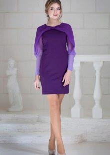 Фиолетовое трикотажное платье короткое