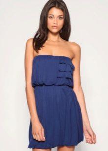 Трикотажное платье открытое синее