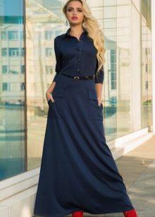 Трикотажное платье-рубашка в пол