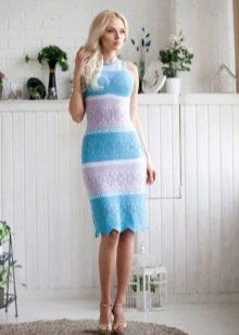 Вязанное весеннее платье цветное
