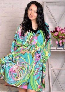 Разноцветное домашнее платье-кимоно