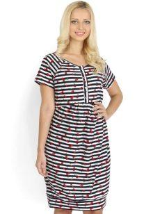 Домашнее платье-туника в тонкую горизонтальную полоску